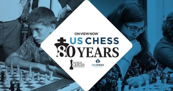 Cartel de la exposición '80 aniversario de la US Chess Federation'