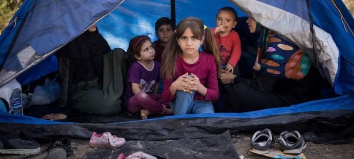 ACNUR/Gordon Welters: Una familia siria de Idlib que llegó recientemente a la isla griega de Lesbos se alberga en un huerto de olivos adyacente al centro de recepción de Moria.