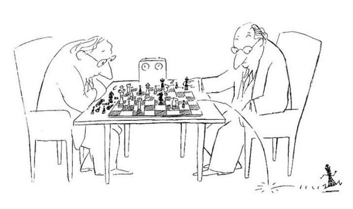Ilustración alusiva del ajedrez por Sempé, páginas 39 y 40 del libro.