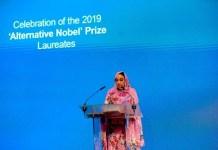 Haidar en el acto de entrega del premio Right Livelihood a los Derechos Humanos