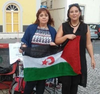 Isabel Lourenço, a la izquierda, en un acto Prosahara en Lisboa