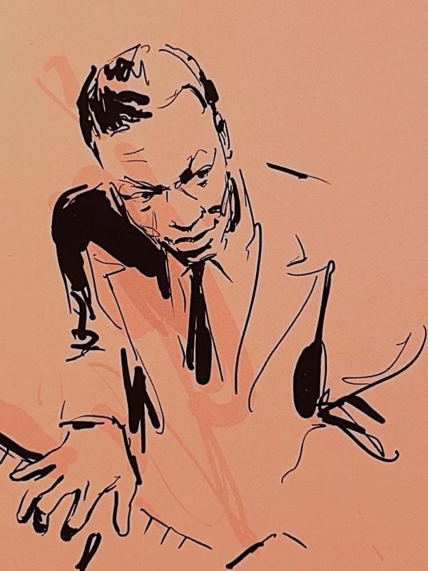 Nat Cole pianista de jazz. Ilustración de portada de la serie Dreyfus Jazz.