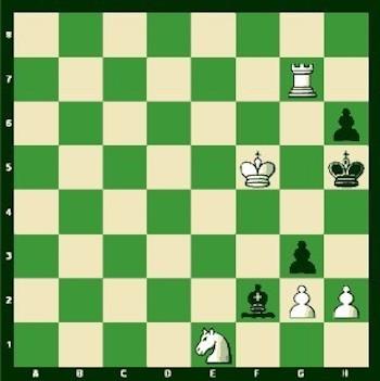 Diagrama de la posición inicial cuando anunció mate en tres. Le tocaba mover al rey con blancas.