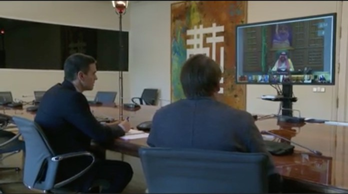 Pedro Sánchez participa por videoconferencia en la cumbre del G20 celebrada el 26 de marzo 2020