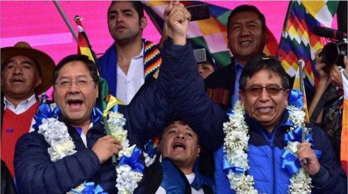 Luis Arce y David Choquehuanca, presidente y  vicepresidente electos de Bolivia