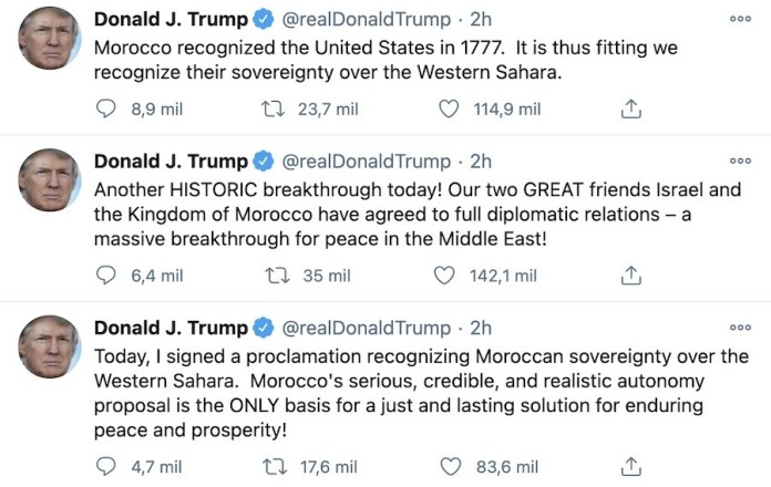 Trump tuit Marruecos Israel Sahara