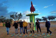 Acto en solidaridad con la trabajadora encarcelada. Los huevos, por delante