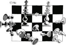 'Ajedrez' por el destacado caricaturista sirio Ali Ferzat