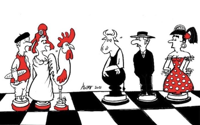 Dibujo de Patrick Pinter en alusión al ajedrez francés y el Centenario de su federación