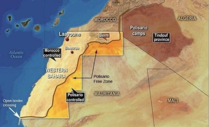 Mapa con la situación actual del Sahara, en inglés