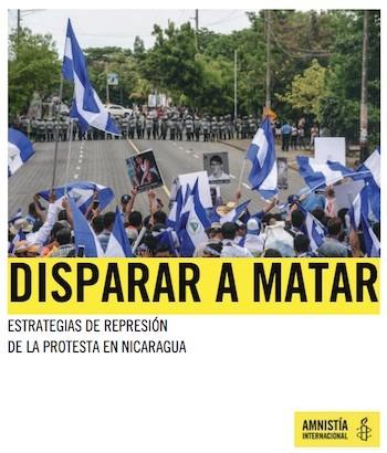 Amnistia Nicaragua disparar a matar, portada