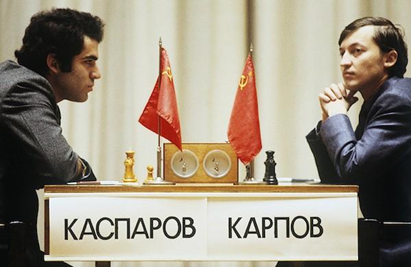 Encuentro entre Karpov y Kasparov en Moscú, 1984.