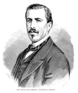 Manuel Ruiz Zorrilla, Ministro de Fomento, impulsor del decreto de bibliotecas populares de 1869
