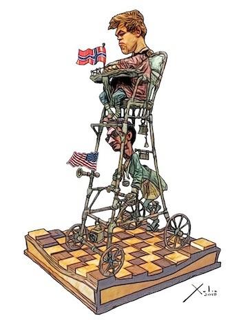 Carlsen y Caruana 2018 por Xulio Formoso