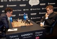 Carlsen y Caruana en Londres, noviembre de 2018
