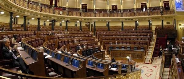 Congreso Diputados de España con escaños vacíos