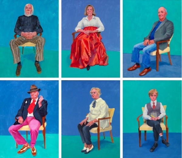 David Hockney retratos sobre una silla