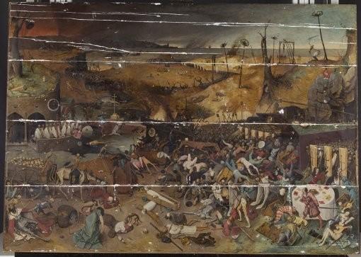 El Triunfo de la Muerte. Proceso de restauración del soporte. Paneles y grietas.