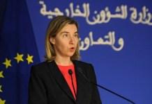 Federica Mogherini durante un acto en Rabat