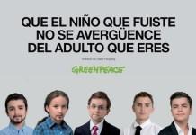 Cartel de Greenpeace con los cinco principales candidatos a las elecciones generales del 20 de diciembre: Mariano Rajoy, Pedro Sánchez, Pablo Iglesias, Albert Rivera y Alberto Garzón, caracterizados como niños de nueve años
