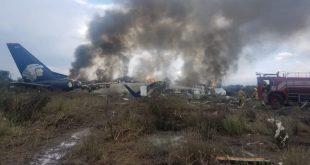 Avión de Aeroméxico accidentado