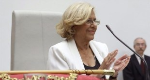 Manuela Carmena en el momento de hacerse pública su elección como alcaldesa Madrid el 13 de junio de 2015