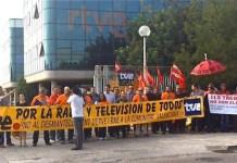 Protestas de los trabajadores de RTVE contra la manipulación política de la radio y televisión públicas