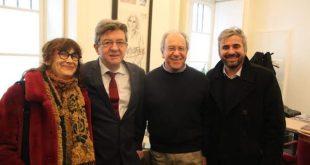 De izquierda a derecha: Sabine Rubin, Jean-Luc Mélenchon, Tomás Hirsch y Alexis Corbière (Imagen de Tanya Hirsch 07/02/2018