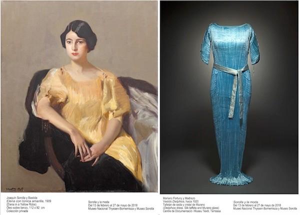 Elena con túnica amarilla 1909 y vestido Delphos 1920