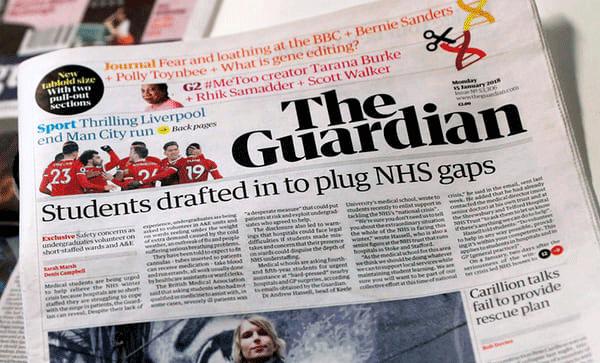Primera página del periódico The Guardian del 15 de enero de 2018.