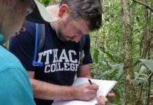 Thomas Garrison escribe notas de campo en las junglas de Guatemala. (Foto proporcionada)