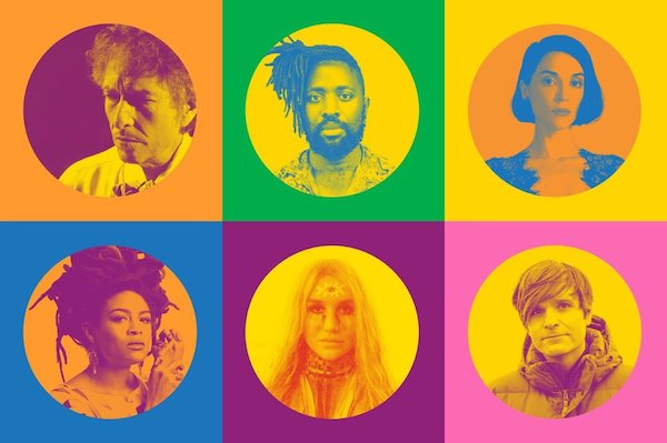 """Universal Love"". Arriba, desde la izquierda: Bob Dylan, Kele Okereke, St. Vincent; abajo, desde la izquierda: Valerie June, Kesha, Ben Gibbard"