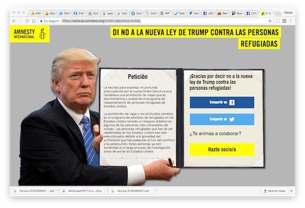 Sitio web de la campaña de Amnistía Internacional en rechazo de la orden ejecutiva de Donald Trump contra personas musulmanas