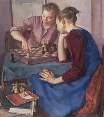 """""""Juego de ajedrez""""; pintura de Antonio Bresciani."""