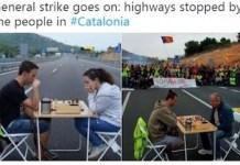 Twitter ha reproducido a los huelguistas que cortaron carreteras jugando al ajedrez.