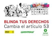 Cartel de la campaña Blinda tus derechos, cambia el artículo 53 de la Constitución Española