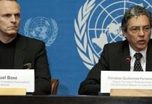 Miguel Bosé con Christian Guillermo-Fernández en Naciones Unidas