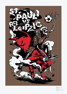 Cuadro alusivo del encuentro, la calavera, símbolo del Sant Pauli domina el toro rojo como es conocido el Leipzig.