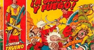 """Portada del primer número de El Capitán Trueno: """"A sangre y fuego"""""""