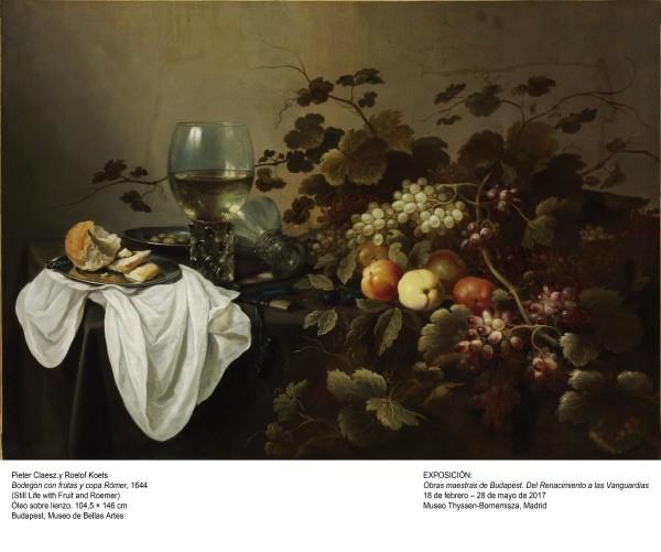 Foto: Pieter Claesz y Roelof Koets. Bodegón con frutas y copa Römer