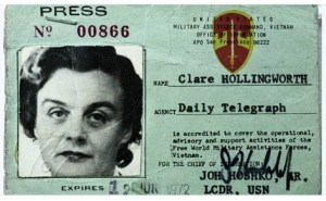 Clare Hollingworth, credencial