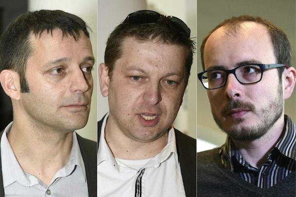 De izquierda a derecha: los acusados en este caso Edouard Perrin, Raphael Halet y Antoine Deltour.