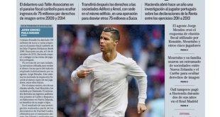 Portada de El Mundo sobre las acusaciones de evasión fiscal de futbolistas profesionales