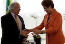 Adolfo Pérez Esquivel se reunió con la presidenta brasileña este jueves 28 de abril de 2016 para mostrarle su apoyo. Foto: ANDES/AFP