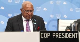 Frank Bainimarama, primer ministro de Fiyi, en la sesión de apertura de la COP 23.