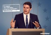 Greenpeace: Albert Rivera como monigote del TTIP
