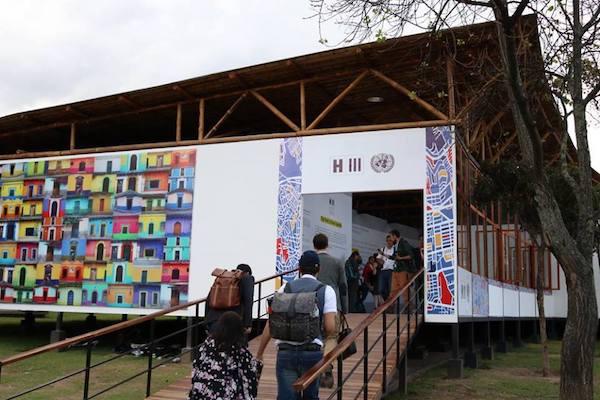 Pabellón de la ONU en la Conferencia Habitat III, Quito, octubre de 2016.