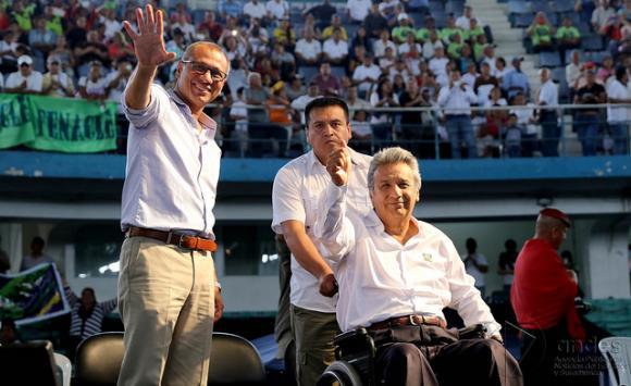 Lenin Moreno y Jorge Glas en un acto electoral de las elecciones presidenciales en Ecuador, 2017.