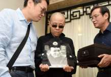 Liu Xia en el funeral de Liu Xiaobo