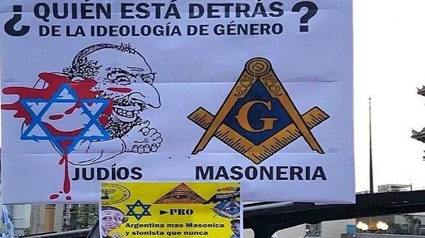 Pancarta de las marchas provida en Argentina con contenidos antisemitas y masofóbicos
